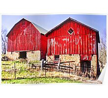 Two Red Barns Poster