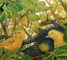 Yellow Warblers in Sea Grape by Lynda Earley