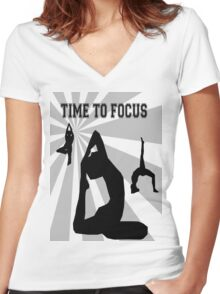 Time to Focus Women's Fitted V-Neck T-Shirt