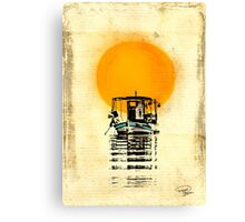 Sunset Boat Silhouette Canvas Print