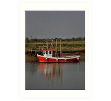 Red Fishing Boat Art Print