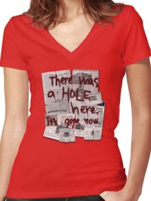 There Was a HOLE Here. It's Gone Now. Women's Fitted V-Neck T-Shirt