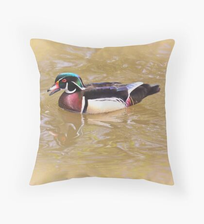 Woodrow the wood duck Throw Pillow