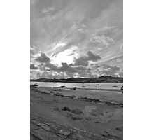 A cloudy Instow Beach (black & white) Photographic Print