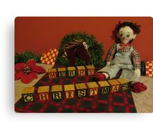 "Vintage Toys say ""Merry Christmas"" Canvas Print"