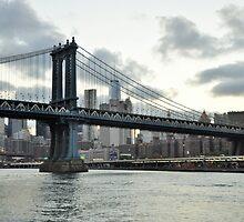 City Lights and Manhattan Bridge by Poete100