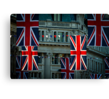 London. Regent Street. Royal Wedding Flags. Canvas Print
