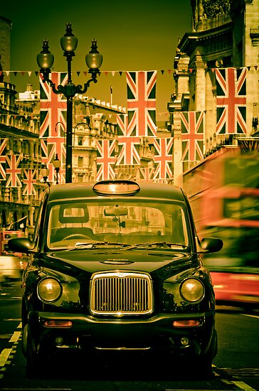 London. Regent Street. Royal Wedding Flags. by Alan Copson