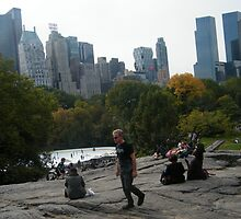 View of Wollman Rink, Central Park, from Rock Formation by lenspiro