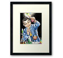 Mr Bean reaches for an explosive solution to his sticky refridgerator door. Framed Print