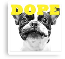 FRENCH BULLEDOG WHITE DOPE YELLOW Canvas Print