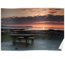 Picnic Table Sunset Poster