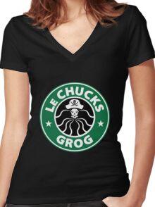 LeChuck's Grog Women's Fitted V-Neck T-Shirt