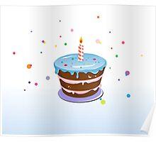 Colorful, chocolate birthday cake  Poster