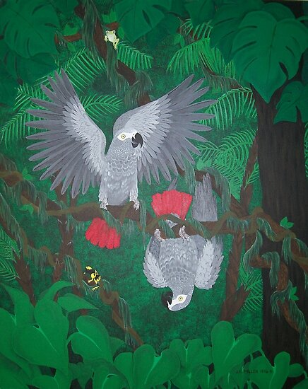 Playful Greys - African Grey Parrots by Joann Barrack