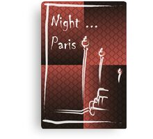 Illustration of a boulevard in Paris at night. For t-shirt or other uses,in vector - stock vector Canvas Print