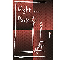 Illustration of a boulevard in Paris at night. For t-shirt or other uses,in vector - stock vector Photographic Print