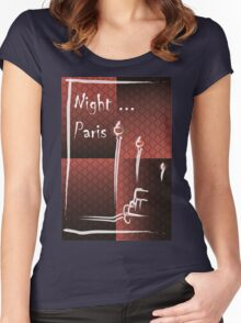 Illustration of a boulevard in Paris at night. For t-shirt or other uses,in vector - stock vector Women's Fitted Scoop T-Shirt
