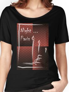 Illustration of a boulevard in Paris at night. For t-shirt or other uses,in vector - stock vector Women's Relaxed Fit T-Shirt
