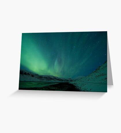 Green Sky over Hvalfjordur Greeting Card