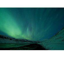Green Sky over Hvalfjordur Photographic Print