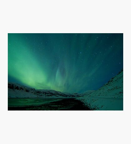 Green Sky over Hvalfjordur Photographic Print