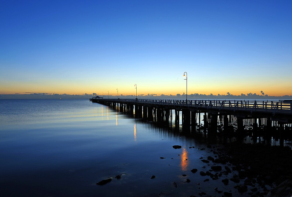 Pre-dawn at Shorncliffe Jetty. Brisbane, Queensland, Australia. by Ralph de Zilva