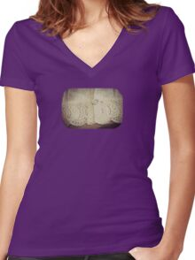 Lace - Embroidery - JUSTART © Women's Fitted V-Neck T-Shirt