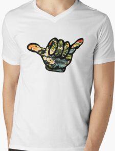 Hang Loose (Hawiian Flowers) Mens V-Neck T-Shirt