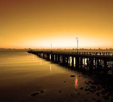 Shorncliffe Jetty at pre-dawn. Brisbane, Queensland, Australia. by Ralph de Zilva