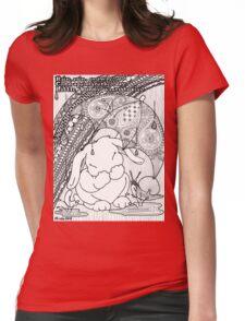 Bunny Nursery Rhyme Series-Rain, Rain, Go Away b&w Womens Fitted T-Shirt