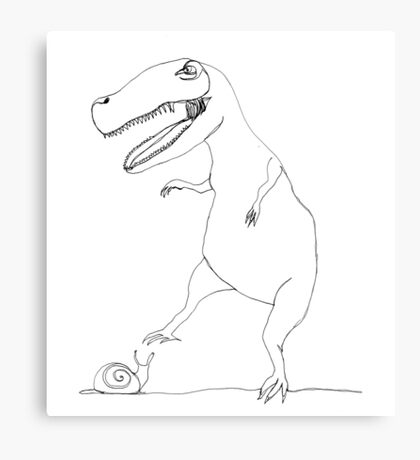 snail & T-Rex Canvas Print