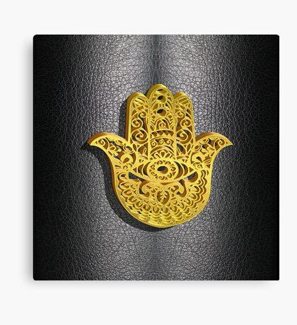 Fatima Hand 3D Vector Gold or Khamsa Hamsa arabic leather Canvas Print