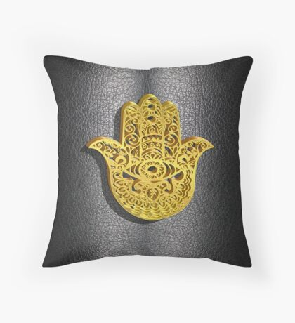 Fatima Hand 3D Vector Gold or Khamsa Hamsa arabic leather Throw Pillow