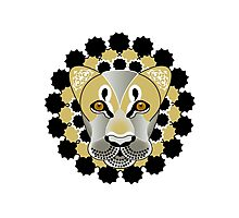 Lion tattoo - beautiful illustration of lions head with fantasy pattern Photographic Print