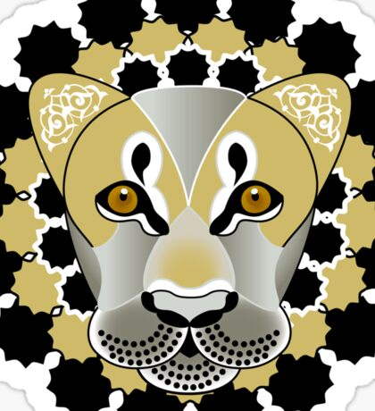 Lion tattoo - beautiful illustration of lions head with fantasy pattern Sticker