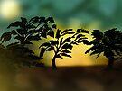 Dark outline tree scene. by Grant Wilson
