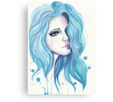 Girl with blue hair Canvas Print
