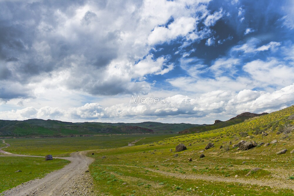 rural landscape - cloudy sky and mountain  by Medeu