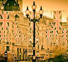 UK. London. Regent Street. Union Jack decorations for Royal Wedding. by Alan Copson
