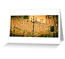 UK. London. Regent Street. Union Jack decorations for Royal Wedding. Greeting Card