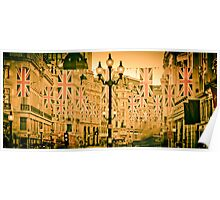 UK. London. Regent Street. Union Jack decorations for Royal Wedding. Poster