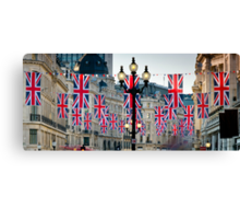 UK. London. Regent Street. Union Jack decorations for Royal Wedding. Canvas Print