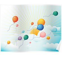 Balloons flying in the sky  Poster