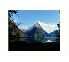 The famous Mitre Peak at Milford Sound Art Print