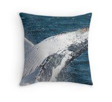 """JOY"" - Humpback Whale Breaching Throw Pillow"