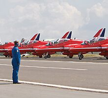 Red arrows preparing to display by Keith Larby
