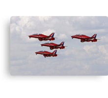 Red arrows in formation. Canvas Print