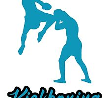 Kickboxing Man Jumping Knee Blue  by yin888