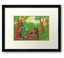 337 - THE MAD HATTER'S TEA PARTY - DAVE EDWARDS - COLOURED PENCILS - 2011 Framed Print